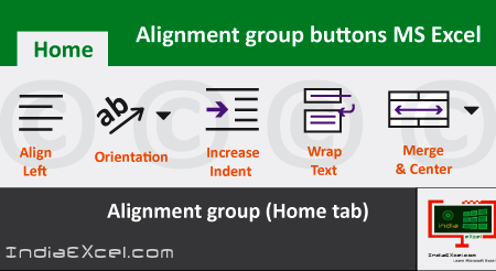 Alignment group tools buttons Microsoft Excel 2016