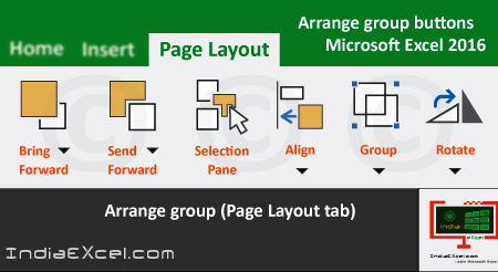 Arrange group tools of Page Layout tab Microsoft Excel