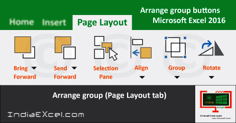 Arrange group buttons Page Layout tab MS Excel
