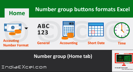 Number group buttons tools Formats Microsoft Excel