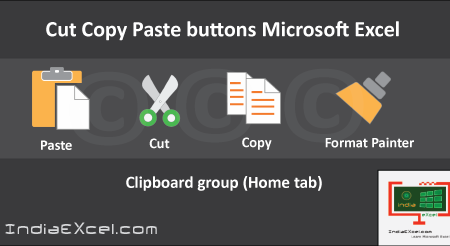 Clipboard group Cut Copy and Paste Microsoft Excel 2016