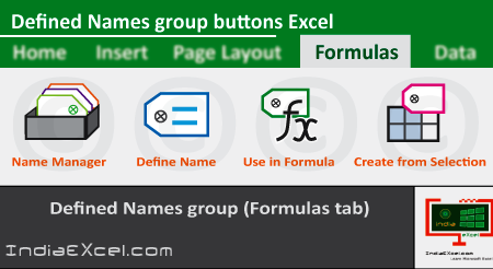 Defined Names group of Formulas tab MS Excel 2016
