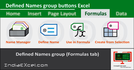 Defined Names group Formulas tab MS Excel