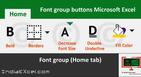 Description of Font group buttons tools MS Excel 2016