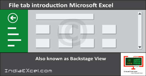 File tab Backstage view buttons MS Excel 2016