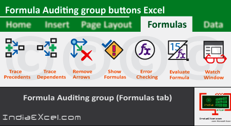 Formula Auditing group buttons of Formulas tab Microsoft Excel