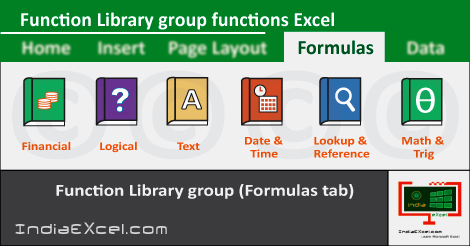 Function Library group button functions MS Excel 2016