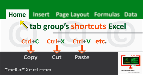 Home tab groups button shortcuts Microsoft Excel 2016