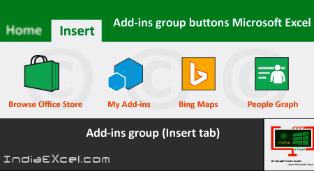 Insert Tab Add-ins group buttons Microsoft Excel 2016