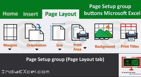 Page Setup group buttons of Page Layout tab Excel 2016