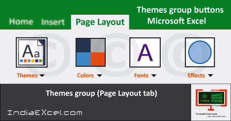 Themes group tools Microsoft Excel