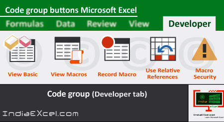 Code group buttons of Developer tab ribbon Microsoft Excel