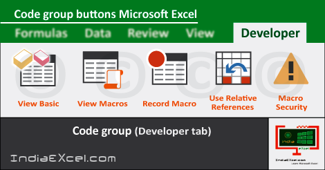 code group buttons of developer tab ribbon microsoft excel 2016