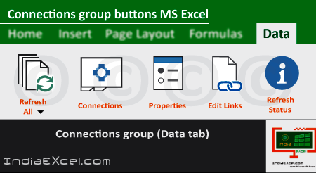 Connections group buttons Data tab Microsoft Excel 2016
