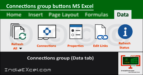 Connections group buttons Data tab MS Excel 2016