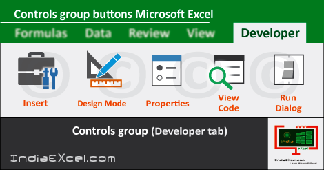 Controls group tools Developer tab MS Excel 2016