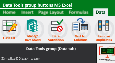 Data Tools group buttons of Data tab Microsoft Excel
