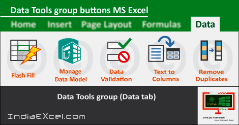 Data Tools group buttons Data tab MS Excel 2016