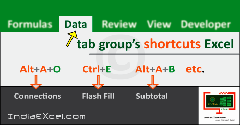 Data tab group's shortcuts MS Excel 2016