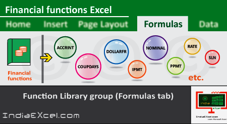 Financial button functions of Function Library group Excel