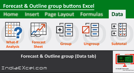 Forecast group Outline group of Data tab MS Excel 2016