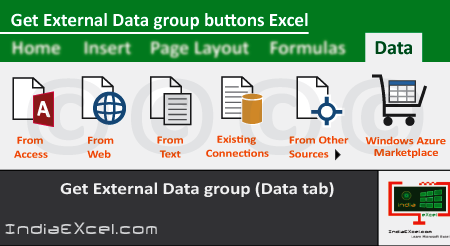Get External Data group buttons of Data tab MS Excel