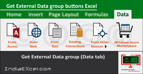 Get External Data group buttons Data tab MS Excel 2016