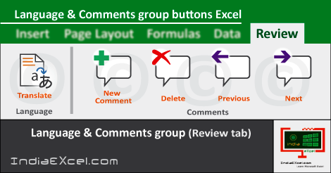 Language group Comments group buttons MS Excel 2016