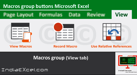 Macros group commands of View tab ribbon Microsoft Excel