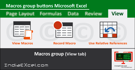 Macros group buttons View tab MS Excel 2016