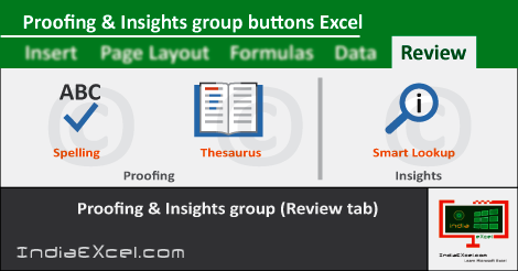 Proofing group Insights group of Review tab Excel 2016