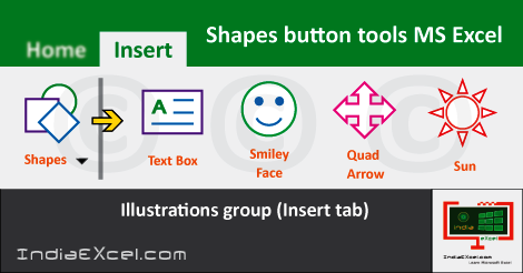 Shapes button tools Illustrations group MS Excel 2016