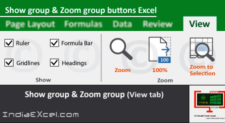 Show group Zoom group tools of View tab MS Excel 2016