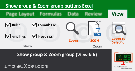 Show group Zoom group buttons View tab MS Excel 2016