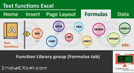 Text button functions of Function Library group MS Excel 2016