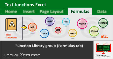 Text button functions Formulas tab Microsoft Excel