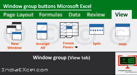 Window group buttons tools View tab MS Excel 2016