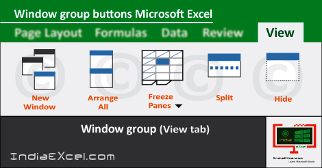 Window group buttons View tab MS Excel 2016