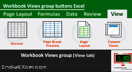 Workbook Views group buttons of View tab ribbon MS Excel