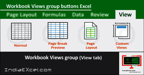 Workbook Views group buttons View tab MS Excel 2016