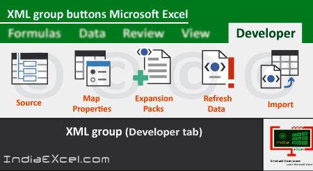 XML group buttons of Developer tab MS Excel 2016