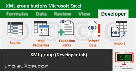 XML group tools Developer tab MS Excel 2016
