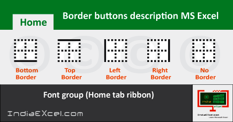 Border buttons Home tab ribbon Font group MS Excel