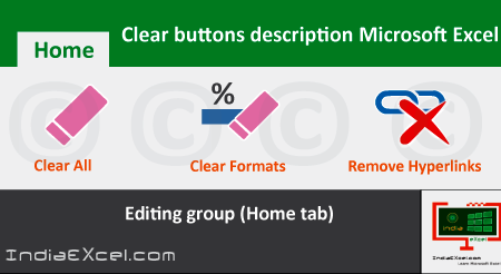 Clear buttons description of Alignment group MS Excel 2016