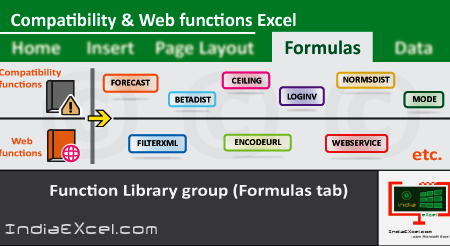 Compatibility Web button functions Function Library group MS Excel