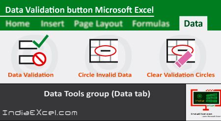Data Validation button of Data Tools group Microsoft Excel