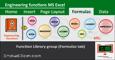 Engineering button functions Formulas tab Microsoft Excel