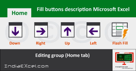 Fill buttons Editing group Home tab MS Excel