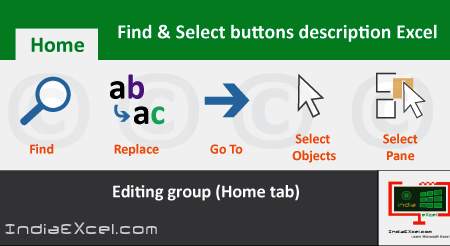 Find Select buttons of Editing group Microsoft Excel