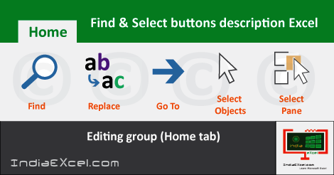 Find Select buttons Editing group Home tab MS Excel 2016